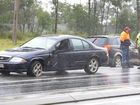 Two-vehicle crash on the Cunningham Highway at Yamanto on Friday afternoon. Photo: Rob Williams / The Queensland Times