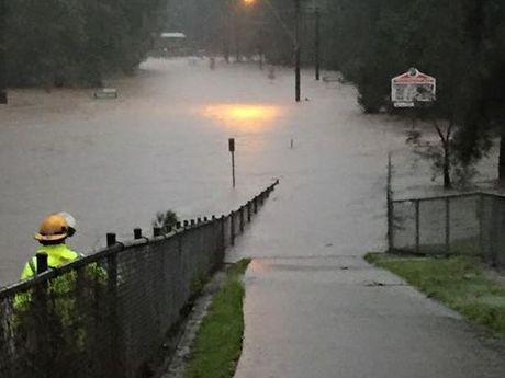 Flooding in Beerwah on Friday afternoon.