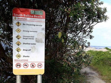 BEACH TRAGEDY: The entrance sign to South Ballina Beach where a six-year-old boy perished in a drowning tragedy.