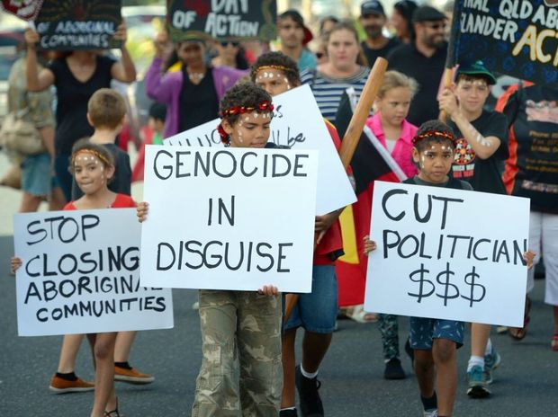 About two hundred people marched through the streets of Rockhampton in support of Aboriginal people in support of West Australian indigenous people after the government has threatened to withdraw funding from remote communities. Photo: Chris Ison / The Morning Bulletin