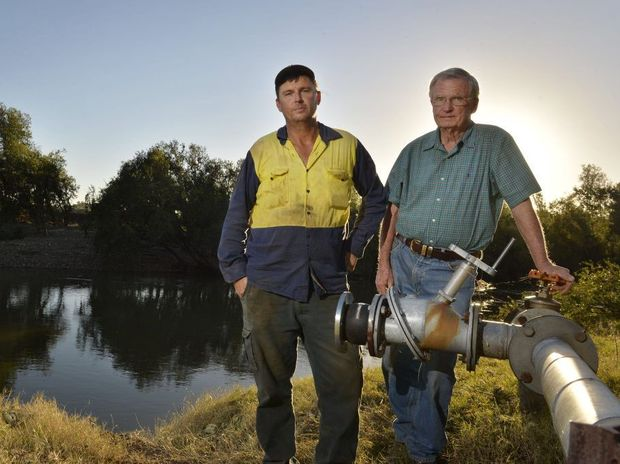 Fernvale residents Murray Jensen and Tom Wilkinson are angered by the recent dam releases. Photo Inga Williams / The Queensland Times