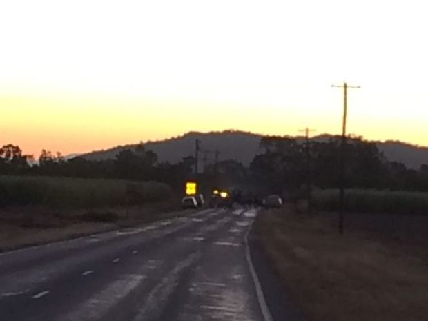 The scene of the fatal crash on Mackay-Eungella Rd this afternoon.