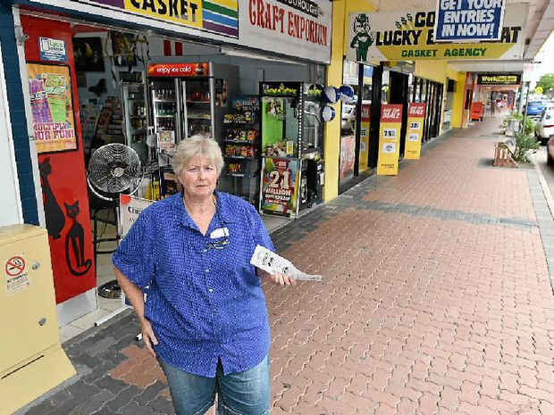 MAJOR DOWNTURN: Claudia Davidson, owner of Cores Lucky Black Cat Casket Agency in Adelaide St, says her business has lost thousands of dollars since the Maryborough Heritage Markets moved.