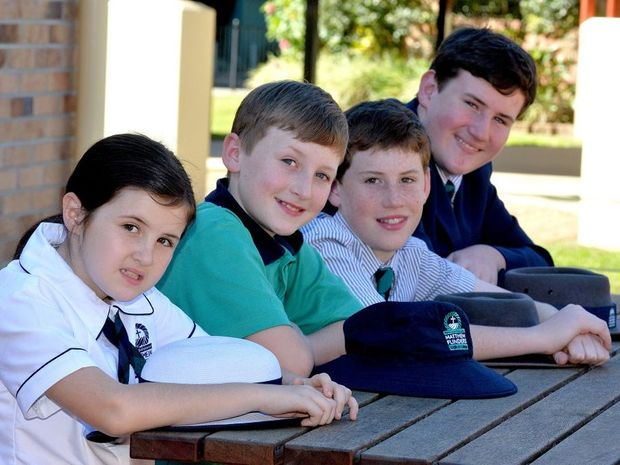 The Barr children from Matthew Flinders Anglican College are getting ready for NAPLAN (left to right) Emma,year 3, Thomas,year5, Samuel, year7, and Joseph year 9. Photo: Warren Lynam / Sunshine Coast Daily