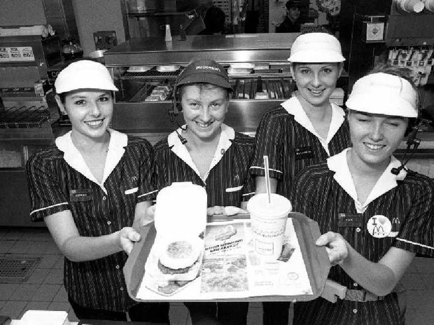 Staff at the new McDonald's Restaurant North Mackay on opening day – April 2, 1990 – included (from left) Debrah Lethlean, Jane Maslin, Elizabeth Watt and Pam Fisher.