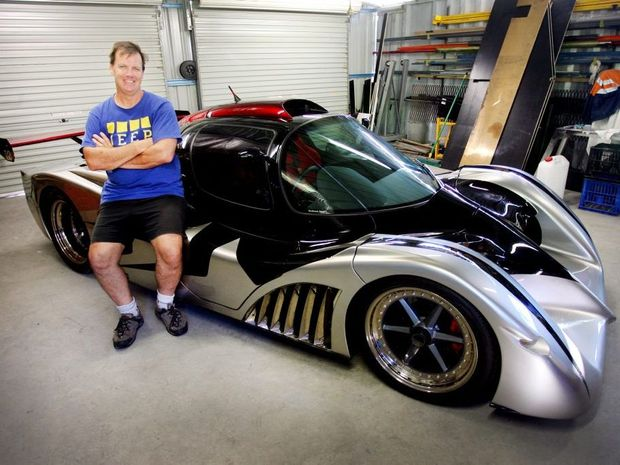 Nick Tomkinson with his two-of-a-kind in the world Red Back Spyder will be on display at the biennial Classics by the Coast on May 24. Photo Tamara MacKenzie / The Morning Bulletin