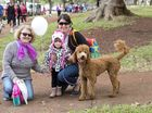 ( From left ) Olga, Elaina and Toni Marr with Indy the Labradoodle.