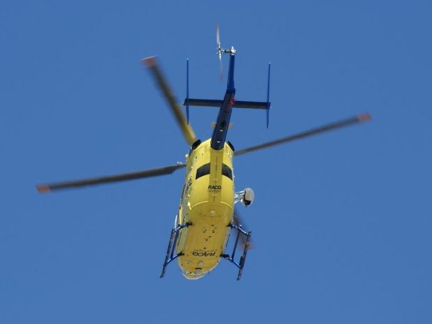 RACQ CareFlight Rescue helicopter flew a young man to Nambour hospital after he nearly drowned near Inskip point.