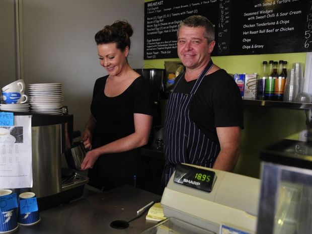 Cotton Mill Cafe owner Gary Warburton and assistant manager Nikki Gaffy thank the Gladstone community for voting them as their favourite cafe.