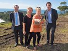 Coffs Harbour Mayor Denise Knight turns the first sod at the Aspect site, part of the Summit Estate, with Bryan Leeming and Tom Maidment from Village Building Company and Jenny Bonfield from First National Real Estate. 20 MAY 2015 Photo Gemima Harvey/Coffs Coast Advocate