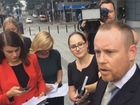 Solicitor Tim Meehan speaks to reporters, while acting for his client Brett Peter Cowan who was convicted of murdering Sunshine Coast schoolboy Daniel Morcombe.