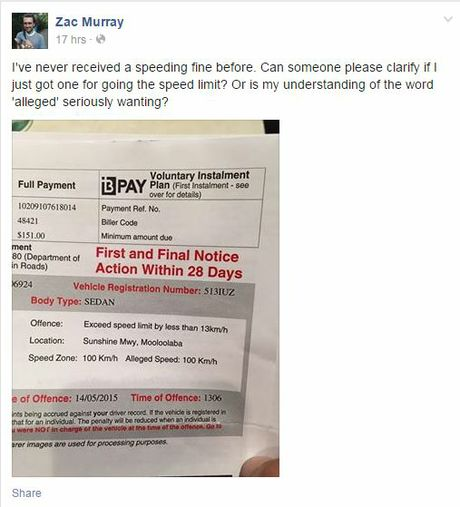 Zac Murray posted a photo of his bizarre speeding fine on Facebook.