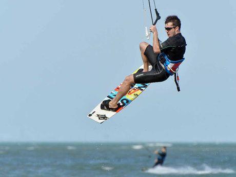 Jason Lamb gets airborne off Town Beach, East Mackay.