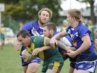 Ghosts Josh Donohoe, Cam Winters and Mitchell Gorman make a takle during the Grafton Ghosts versus Orara Valley Axemen in the Group 2 Rugby League match at Frank McGuren Field on Sunday, 14th June 2015. Photo Debrah Novak / The Daily Examiner