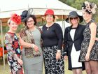 Deidre Rackemann, Gayle Pott, Sue Payne, Judy McKenzie and Sophie Rackemann are all in the race for fashions on the field Photo Noel Thompson / Central & North Burnett Times