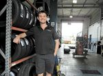 Morgan Haber, at his sponsor Transit Tyres, will trade his GT car for a kart.