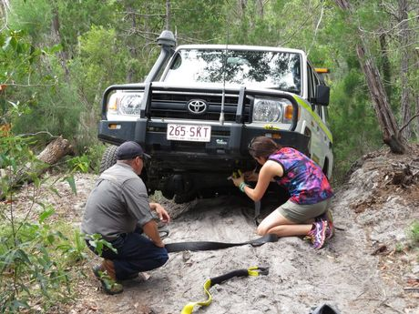 Photojournalist Kristy Muir visited Fraser Island in March for a four-wheel driving adventure. There was so much to see and do. Pictured: Australian Offroad Academy instructor Dave Darmody and the driver of the 4x4 vehicle demonstrating how to recover a vehicle that is stuck or bogged. Photo Kristy Muir / Sunshine Coast Daily