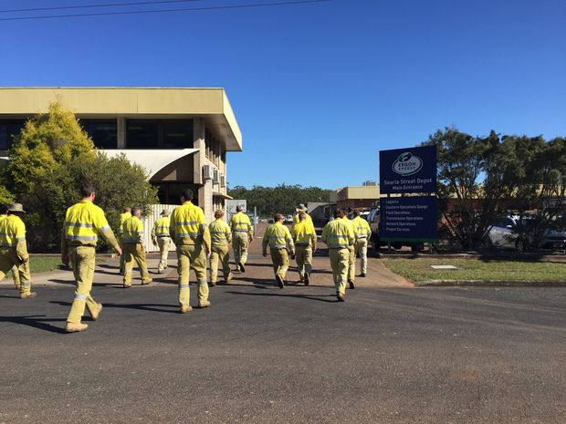 Maryborough's Ergon Energy staff will only do emergency work on Wednesday after walking off the job due to a contract dispute.