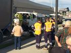 A truck crash in Goodna on Thursday afternoon. Photo: David Nielsen / The Queensland Times