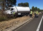 A motorcycle has collided with a truck near Mutdapilly State School. Photo: Inga Williams / The Queensland Times