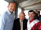 SPECIAL VISIT: Prime Minister Tony Abbott with his father Dick Abbott and Robert Thompson.