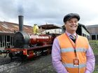 Queensland Rail historian Greg Hallam with the old A10 train to be used in the 150 years re-enactment. Photo: Rob Williams / The Queensland Times