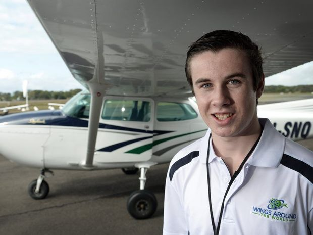 Nambour 17-year-old Lachlan Smart launches his bid to fly around the world by himself.