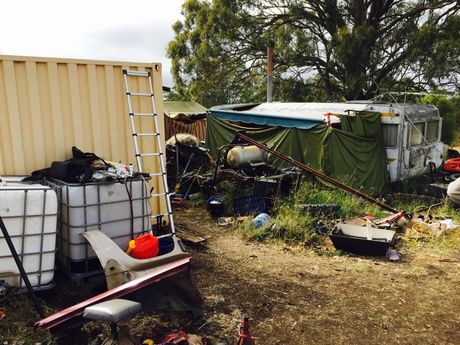 One of two properties that were raided in Kingaroy on Wednesday in relation to a string of break and enter offences in rural town.