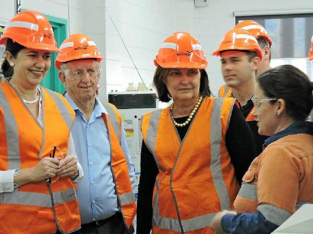 STATE VISIT: Premier Annastacia Palaszczuk, Member for Mirani Jim Pearce and Member for Mackay Julieanne Gilbert meet team leader Brooke Dallow at the Wilmar BioEthanol plant.