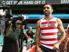 ADAM Goodes collects 14 touches during a 2008 game against Geelong at Kardinia Park.