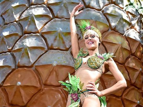 STRICTLY LOCAL: Nadia Coote, who plays Tina Sparkle in Strictly Ballroom The Musical, visits the big Pineapple to promote the show's opening in Brisbane. Sonia Kruger (inset) plays TIna in the film.