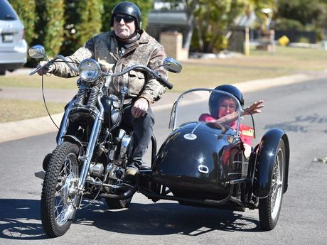 Hazel James celebrates her 80th birthday with a ride in a sidecar on Tom Thomas's 1942 Harley. Photo: Alistair Brightman / Fraser Coast Chronicle