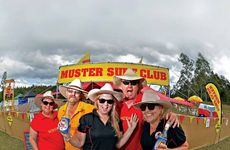SURF'S UP AT AMAMOOR: Muster Surf Club members (from left) Robbie and Alf Hiddlestone from Caboolture, Rachel Rogers from Redlands, and Corey and Gab Passlow from Bribie in full Muster mode.
