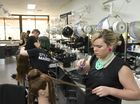 Brittany Pearce competes in the upstyling task section of WorldSkills Hairdressing Vocational Education and Training competition.