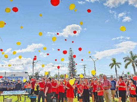 FINAL GOODBYE: Hundreds of balloons were released at the funeral for Mitchell Lewis Luders.