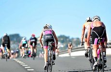 PUSHING ON: Competitors in the Ironman 70.3 Sunshine Coast event push through their pain barriers yesterday.