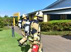 School fire, Unity College Caloundra.The School administration buillding was evactuated and firefighters responded to electrical burning smells the day after the Year 2 building was destroyed by fire. Photo: Che Chapman / Sunshine Coast Daily