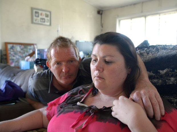 PLEAD FOR HELP: Glenn Green is struggling to make ends meet after a motorcycle crash left his wife Rhiannon with severe injuries. They are desperately seeking help to repair the roof of their home, which was damaged during a recent storm. Photo: Max Fleet / NewsMail