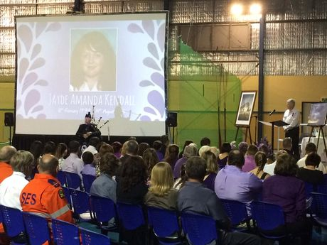 Hundreds at the Jayde Kendall memorial service in Gatton.