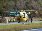 An incident southbound on the Bruce Hihghway with helicopter landing to transport patient. Photo Vicki Wood / Caboolture News