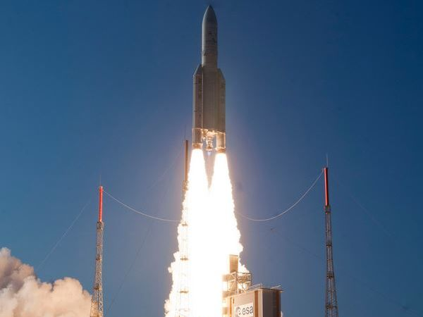 The NBN Space Muster satellite launching from the Guiana Space Centre in South America