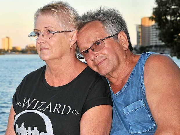 "GRATEFUL: Jenny and Dieter Gass from Latrobe Valley, Victoria had been holidaying for three weeks in their caravan before the Inskip ""sinkhole"" ruined everything."