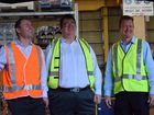Federal Minister for Northern Australia Josh Frydenberg, Federal Minister for Dawson George Christensen and G&S; Engineering director Mick Crowe talk opportunity this morning. Photo: Emily Smith / The Daily Mercury.