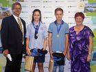RECOGNITION: Presenting North Queensland sports bursaries to Jessica Grech, 13, and Callum Street, 14, are Mayor Deirdre Comerford and Sports, Recreation and Facilities portfolio councillor Paul Steindl.