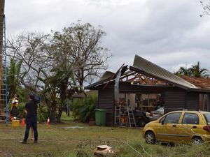 Shed explodes in storm