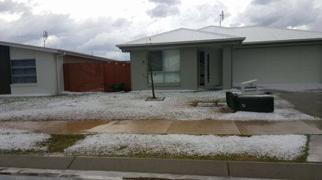 Hail in the streets of Chinchilla.