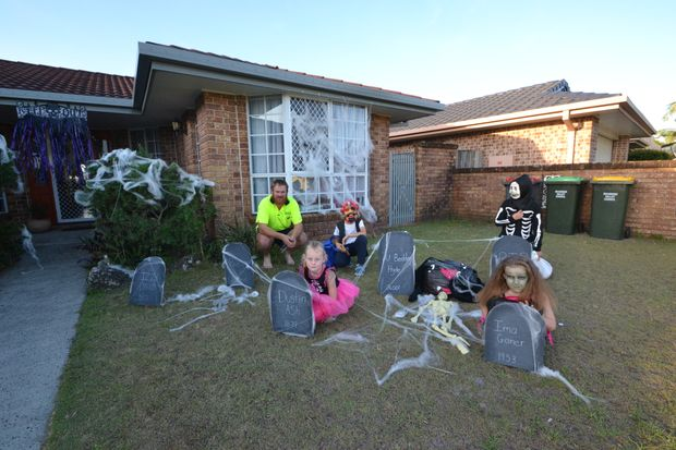 FRONTYARD GRAVEYARD: Some houses went all out to decorate for Hallowe'en in Evans Head.
