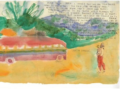 Judy Cassab, Dear Bodhi, when I asked you on the telephone 1986, watercolour and ink on paper, 44.5 x 28cm, Judy Cassab. Licensed by Viscopy, 2015.jpg