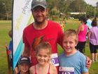 Former premier league footballer for Maclean Bobcats Kevin Crofton, 37, has hung up the boots to participate in running and triathlon events with his children. He won the 5km event at the Jacaranda Fun Run held at Camarana Park in Waterview Heights on Sunday, 8th of November, 2015. Photo Bill North / Daily Examiner