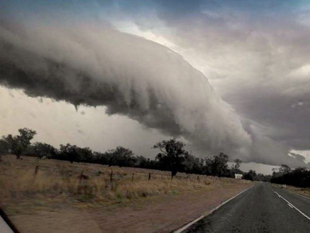 Storm cloud Gore Highway. A couple from melbourne were in their car on the highway when it was struck by lightning. Photo Contributed